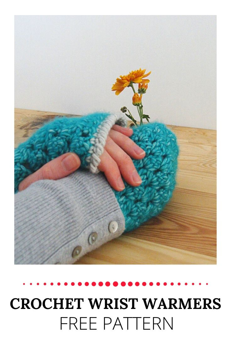 Crochet wrist warmer, free pattern | Happy in Red | Gehaakte polswarmers, gratis haakpatroon