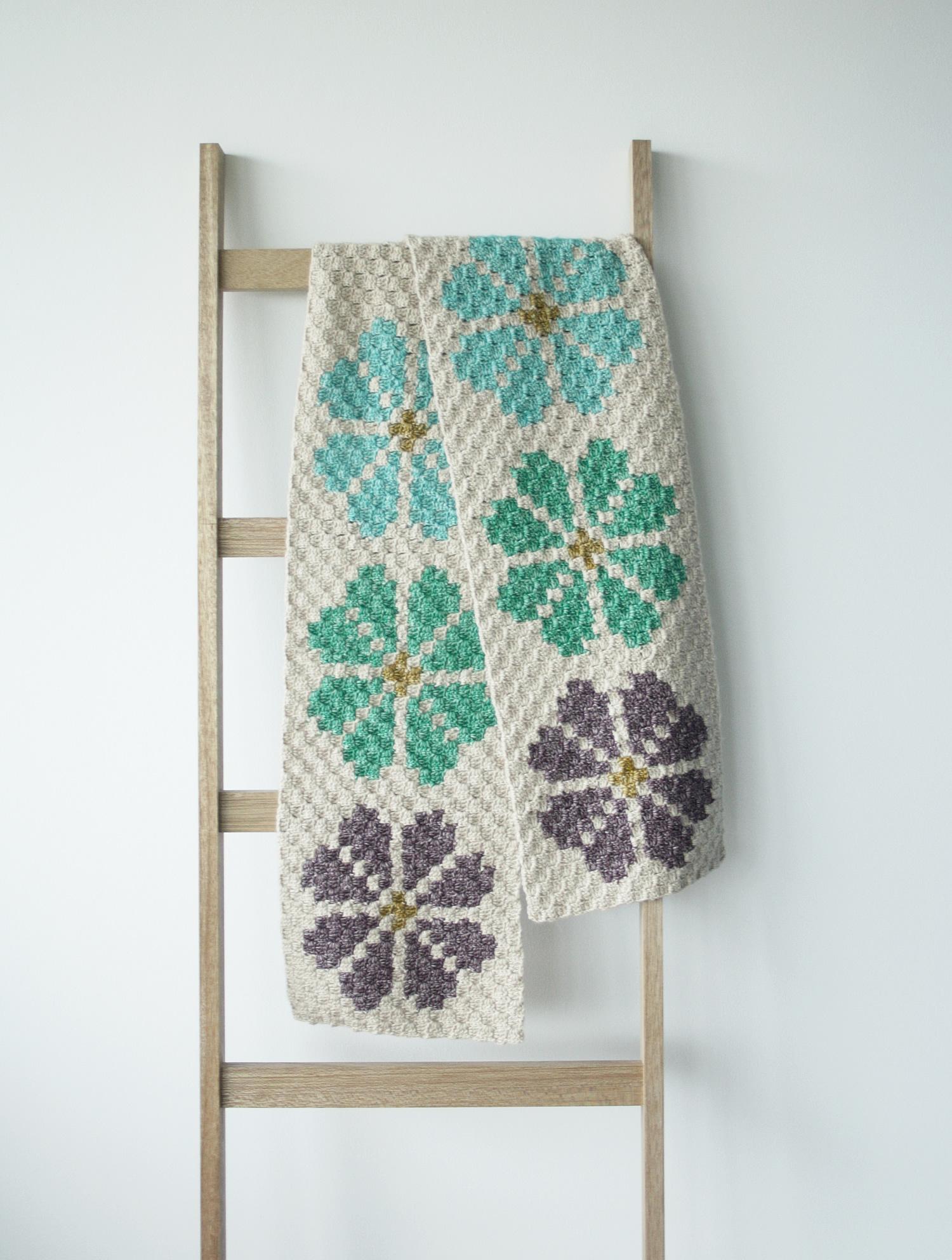 Corner to corner crochet shawl, C2C Lily Pond Shawl | Happy in Red
