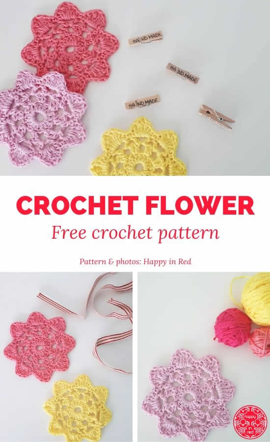 Crochet flower pattern | FREE crochet flower pattern | Happy in Red
