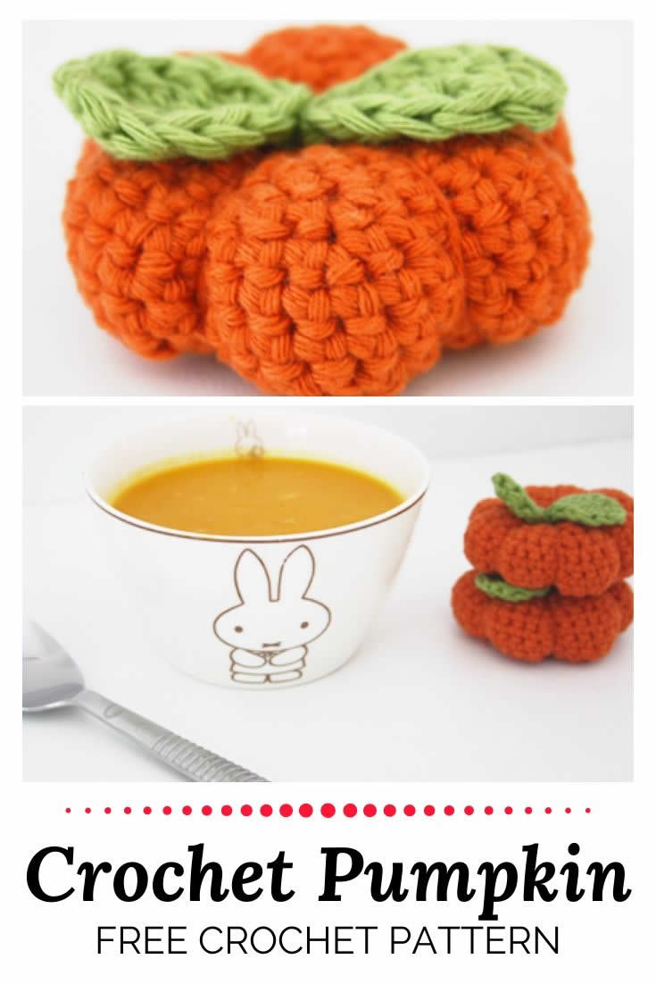 Crochet pumpkin pattern, free | Happy in Red