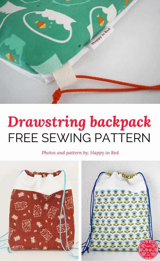 Drawstring backpack free sewing pattern, by Happy in Red