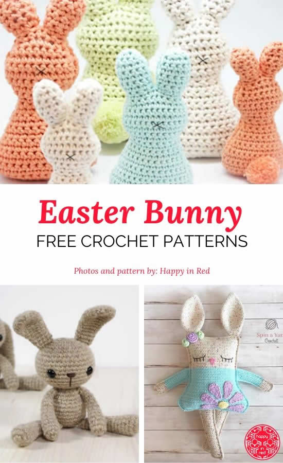 Easter bunny crochet patterns | Happy in Red