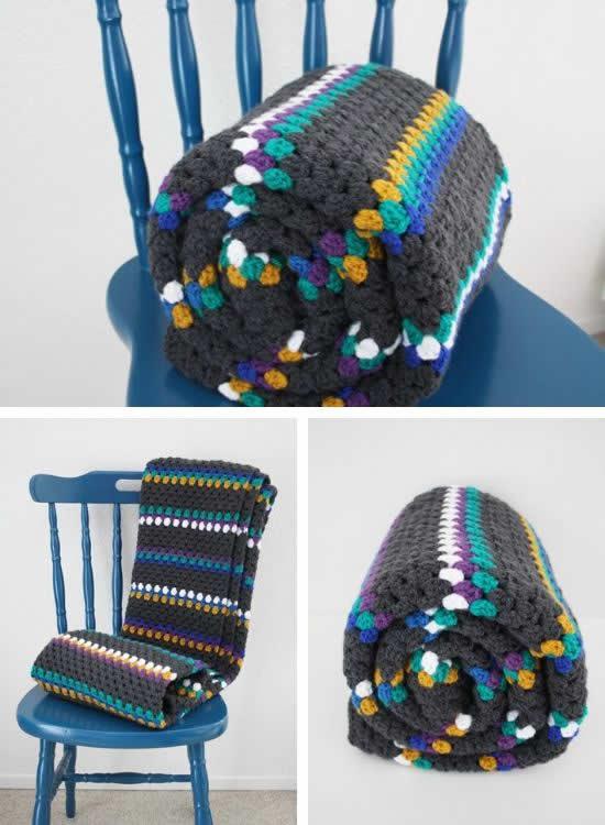 Crochet granny stripe blanket, handmade crochet granny stripe blanket | Happy in Red