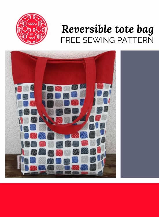 Reversible tote bag sewing pattern | Free sewing pattern tote bag | Happy in Red
