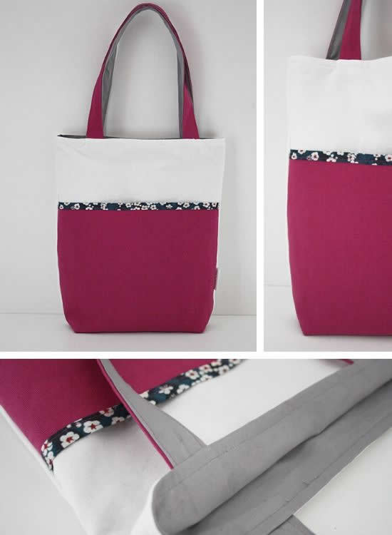 Big pocket tote bags, handmade bags by Happy in Red