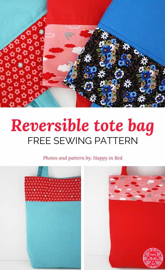 Reversible tote bag sewing pattern, free tote bag sewing pattern | Happy in Red