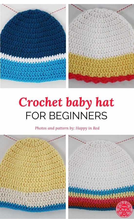Crochet baby hat for beginners | Crochet baby hat free pattern | Happy in Red