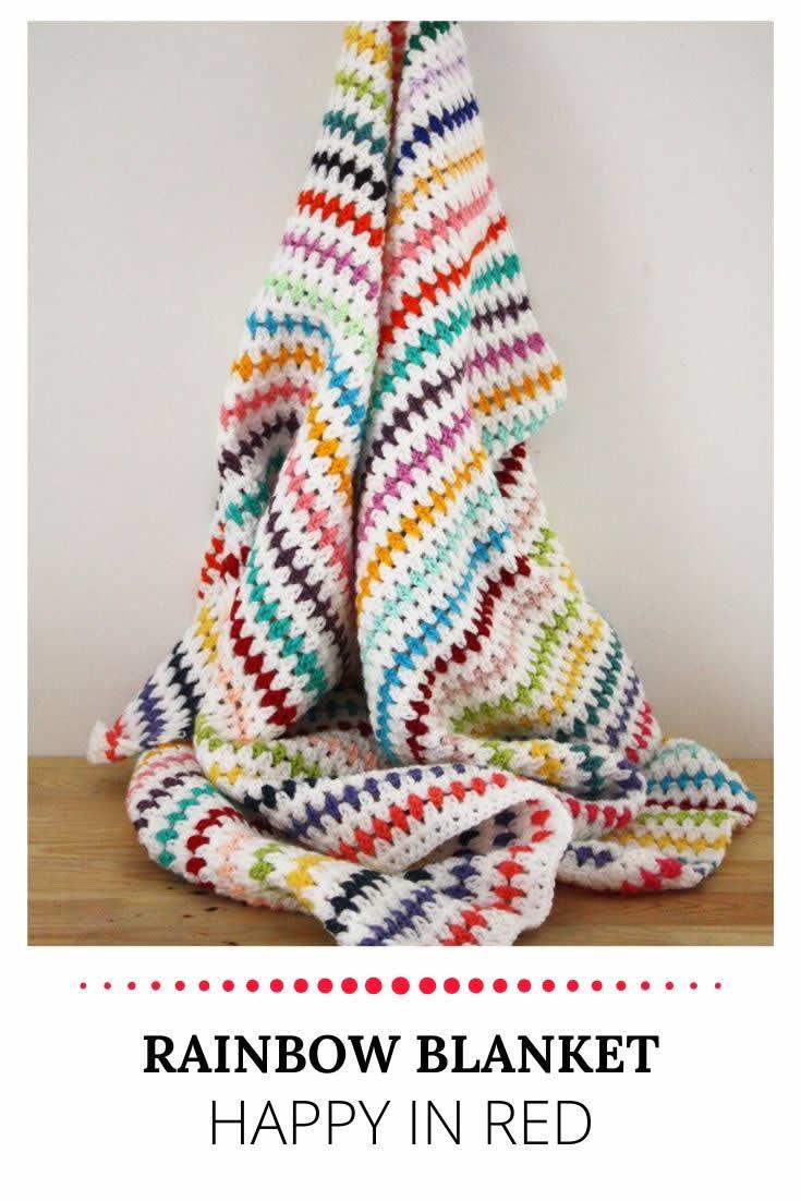 Crochet rainbow blanket | Rainbow baby blanket | Happy in Red