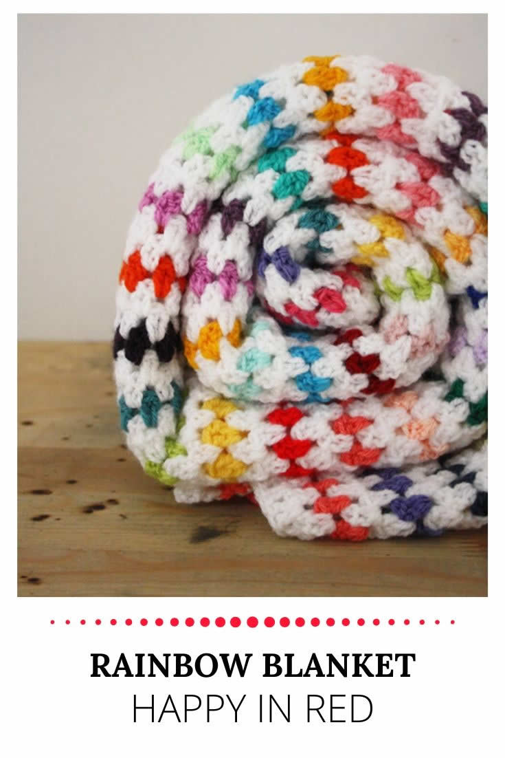 Crochet rainbow blanket | Rainbow baby blanket | Happy in Red