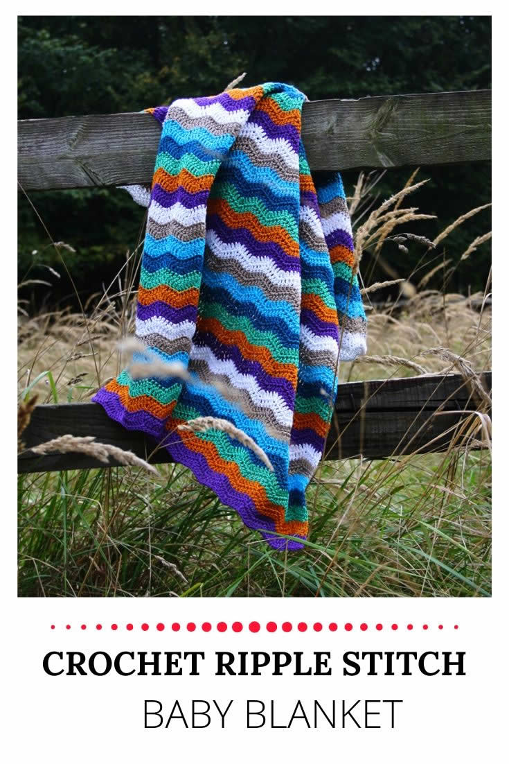 Crochet ripple stitch blanket | Happy in Red