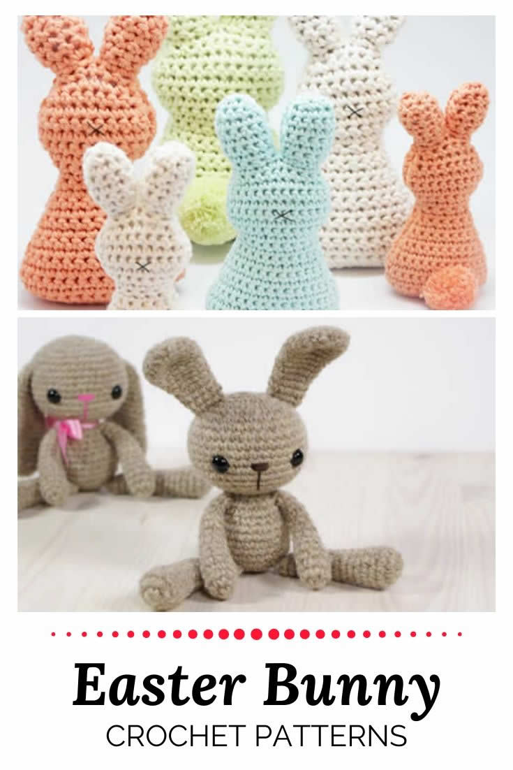 Easter bunny crochet patterns, free and easy | Happy in Red
