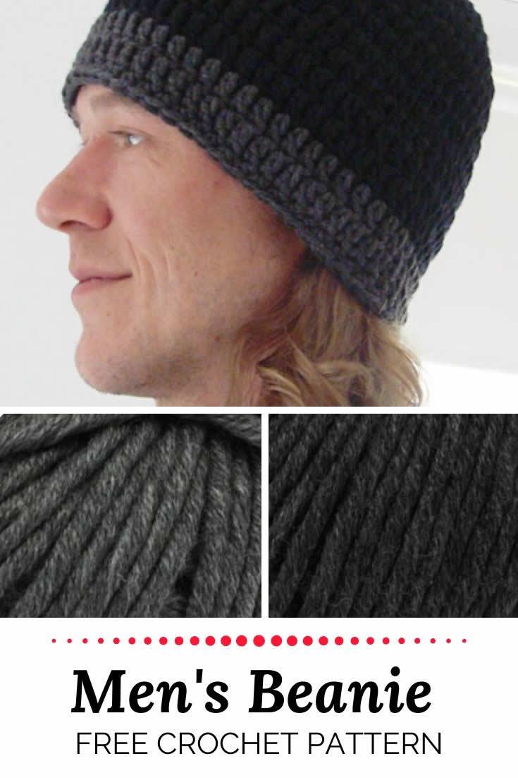 Men's crochet beanie patter, free crochet pattern men's beanie   Happy in Red