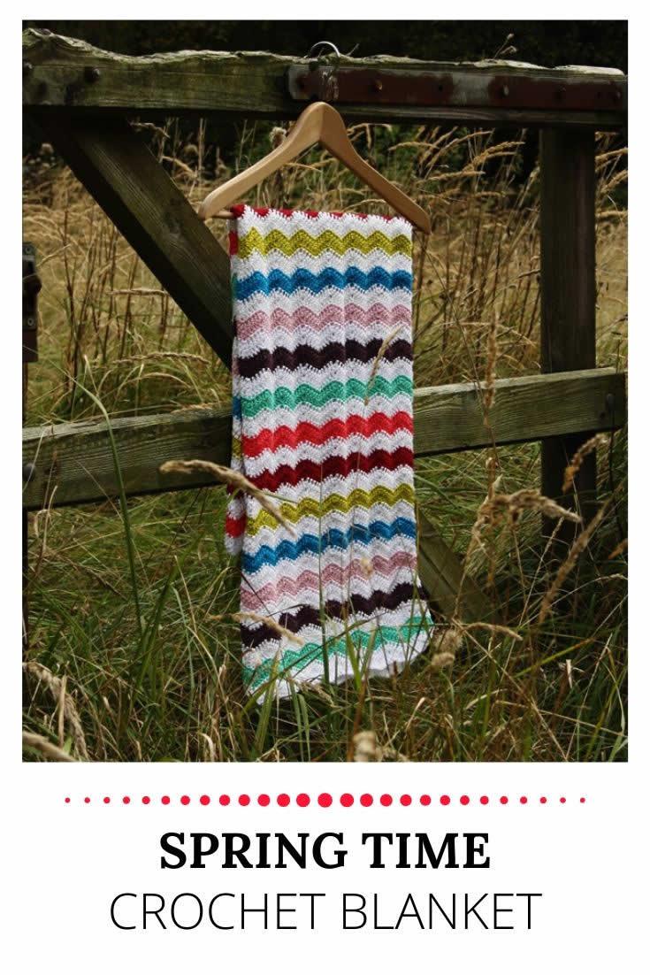 Springtime ripple stitch blanket, crochet ripple stitch blanket | Happy in Red