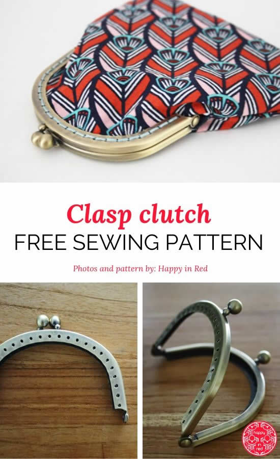 Clasp clutch sewing pattern | Free pattern clasp clutch | Happy in Red