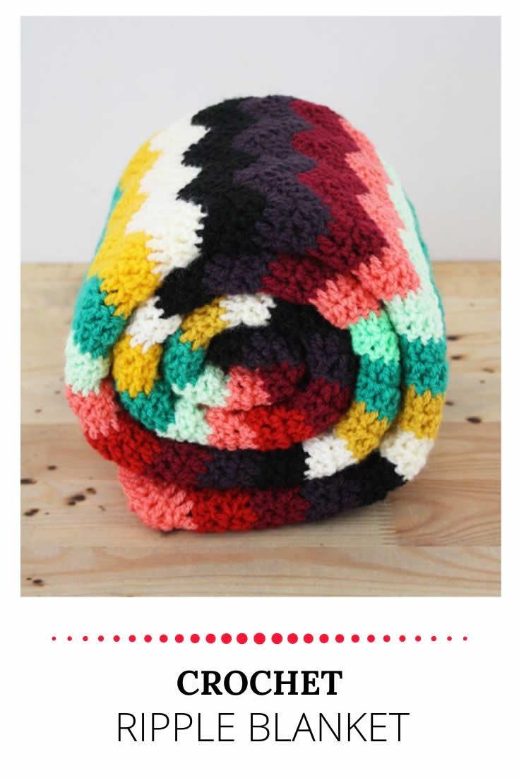 Crochet ripple blanket | Crochet blanket by Happy in Red