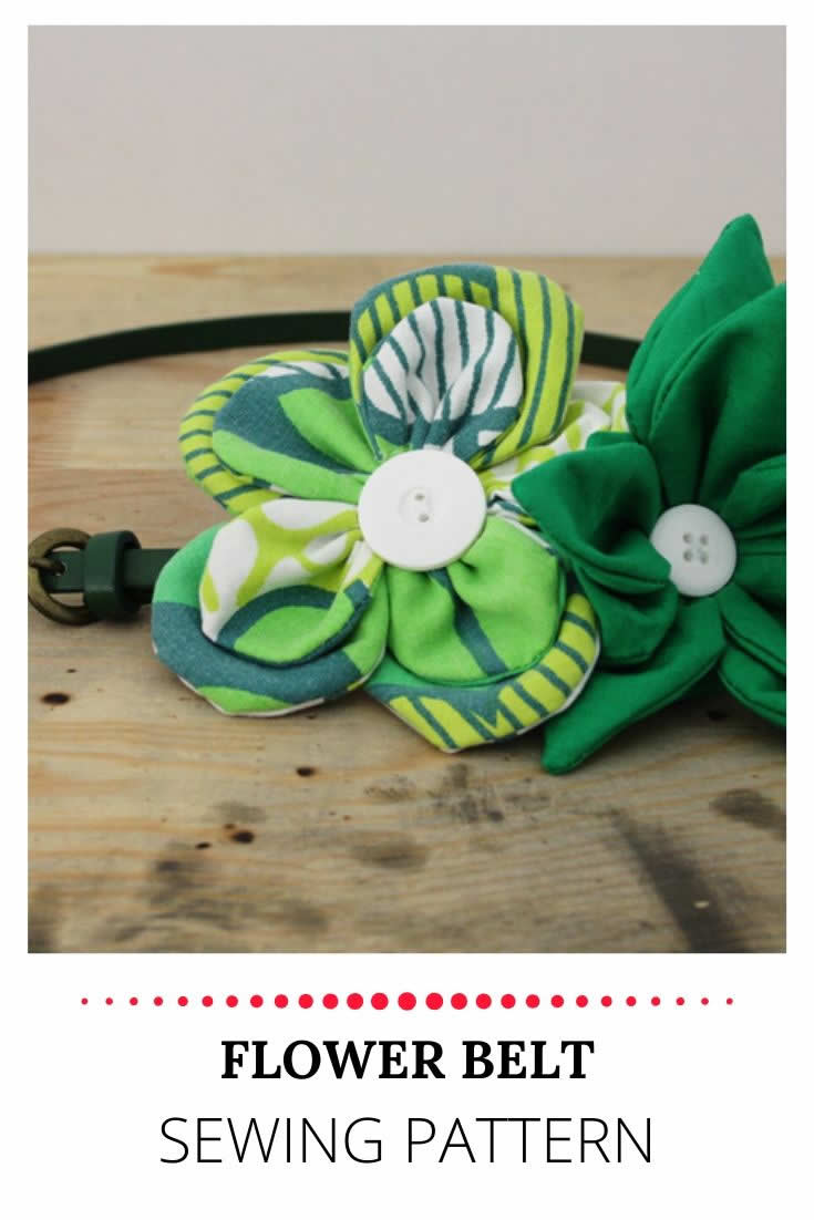 Fabric flower belt sewing pattern | Happy in Red