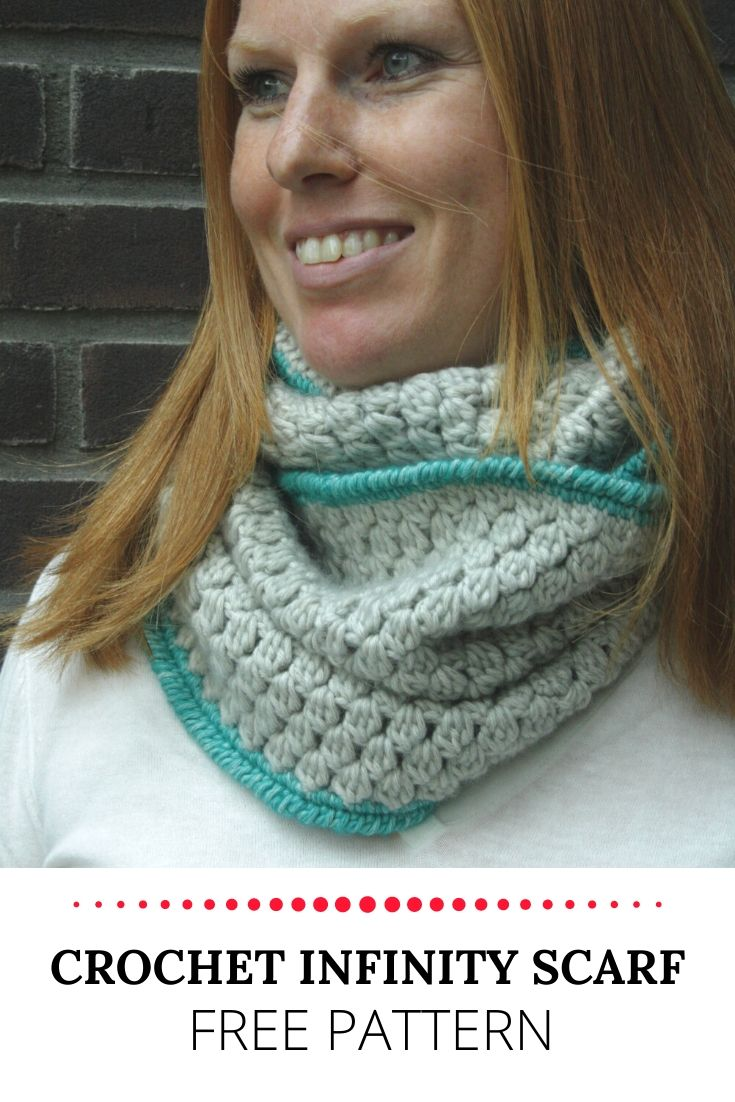 Crochet infinity scarf, free pattern | Happy in Red
