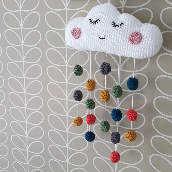 Crochet cloud mobile | Happy in Red
