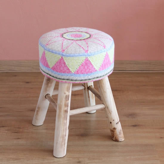 Egyptian Flower Stool Cover (by Miss Neriss) | Happy in Red
