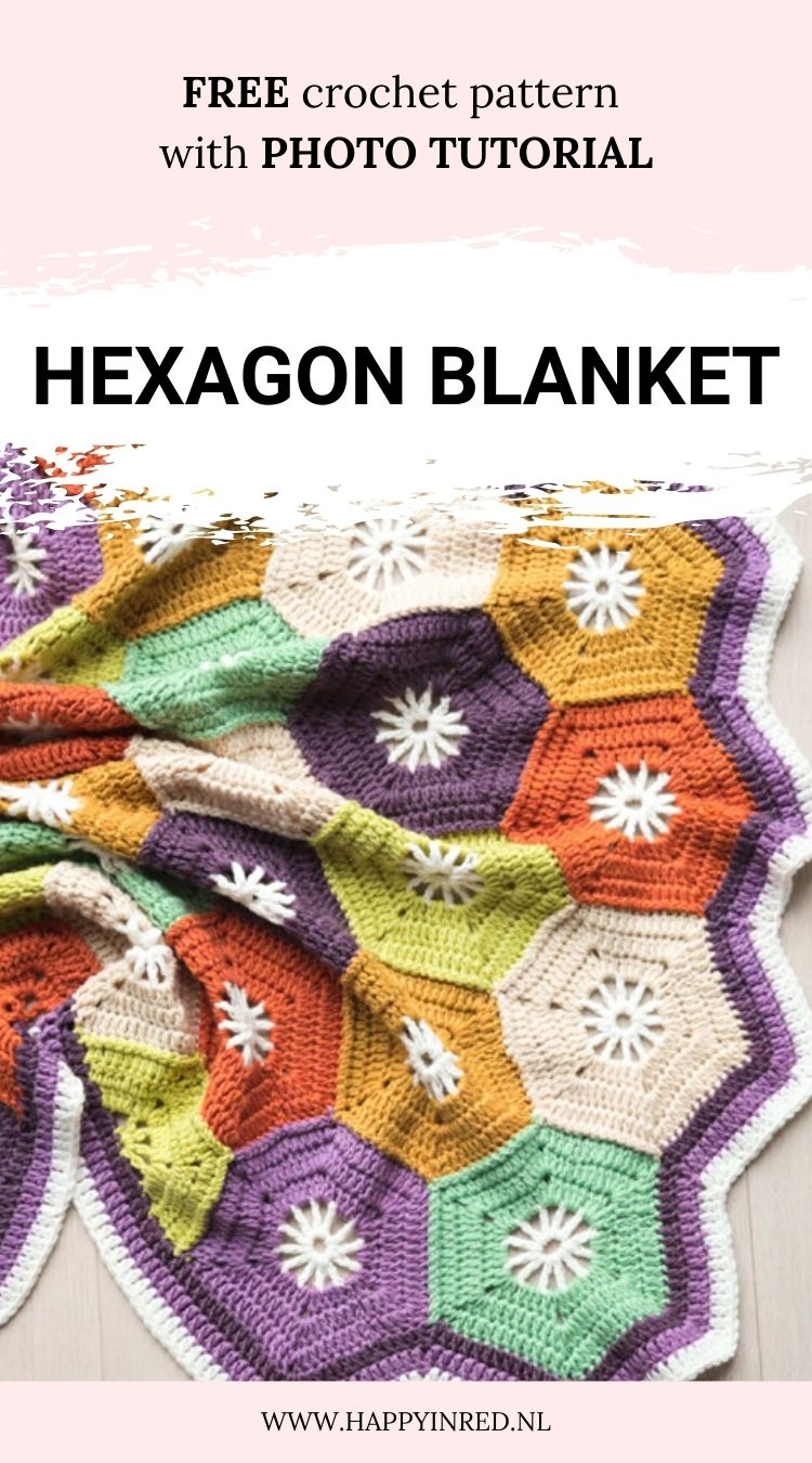 Crochet hexagon blanket | Free pattern: crochet hexagon blanket | Happy in Red