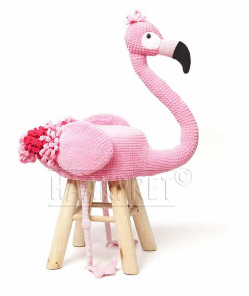 Crochet stool, crochet animal stool | Gehaakte dierenkruk | Happy in Red (photo: Scheepjes & Haakpret)