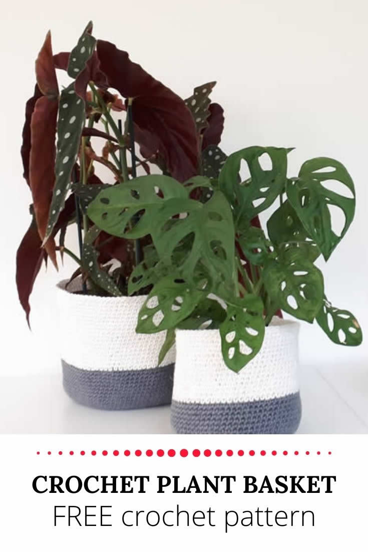 Crochet plant basket, free crochet pattern | Happy in Red