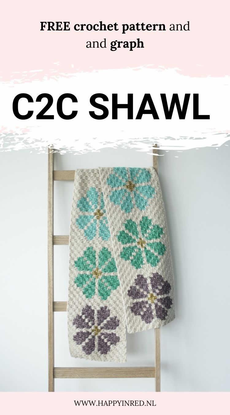 C2C Shawl | C2C Lily Pond Shawl by Happy in Red