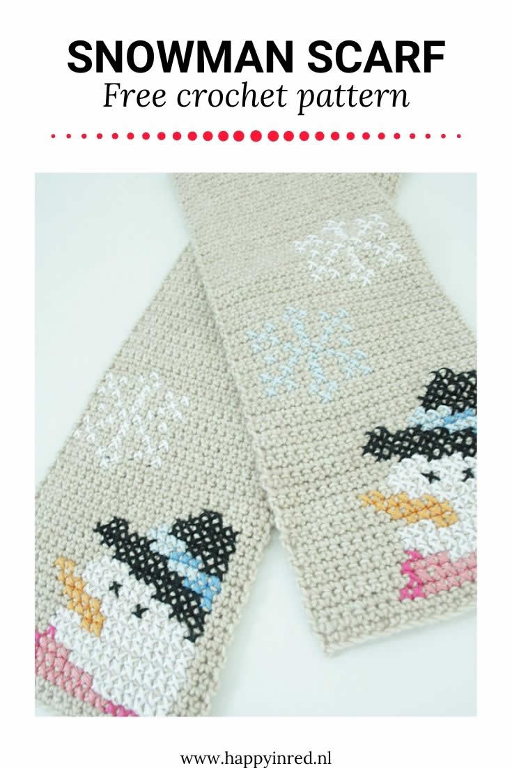 Snowman scarf | Crochet snowman scarf, free pattern | Happy in Red