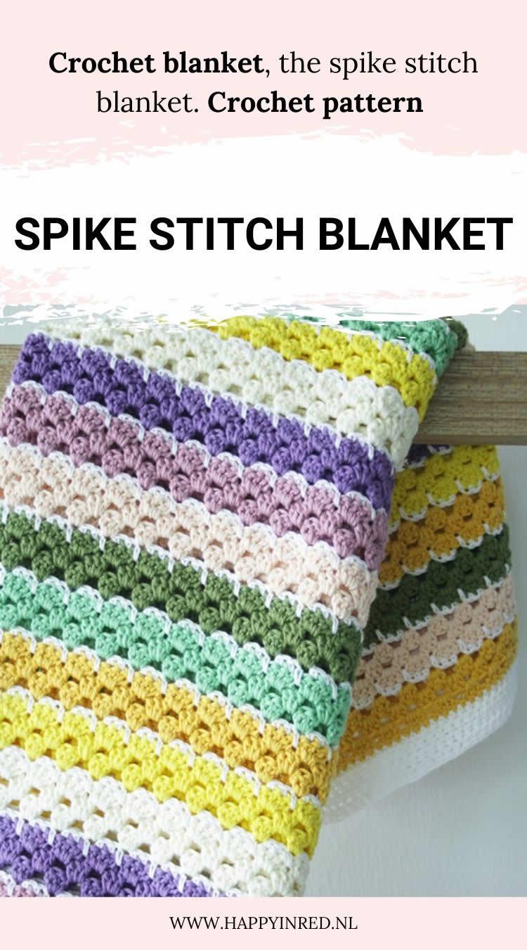 Crochet blanket | Spike stitch blanket, crochet pattern | Happy in Red