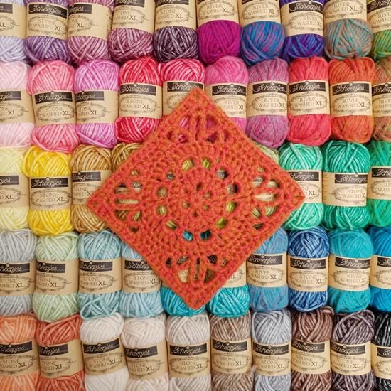 Emma crochet square, Ubuntu CAL   Nederlands haakpatroon Emma crochet square   Happy in Red