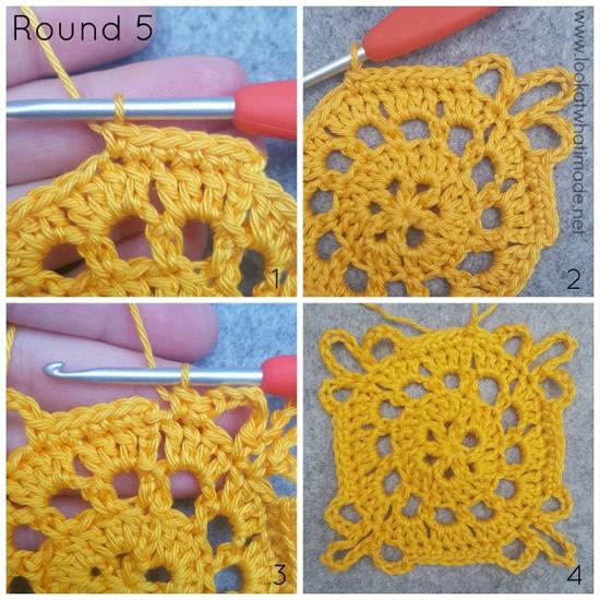 Emma crochet square, Ubuntu CAL proeflapje tour 5   Happy in Red