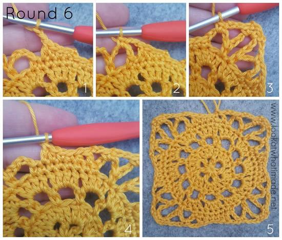 Emma crochet square, Ubuntu CAL proeflapje tour 6   Happy in Red