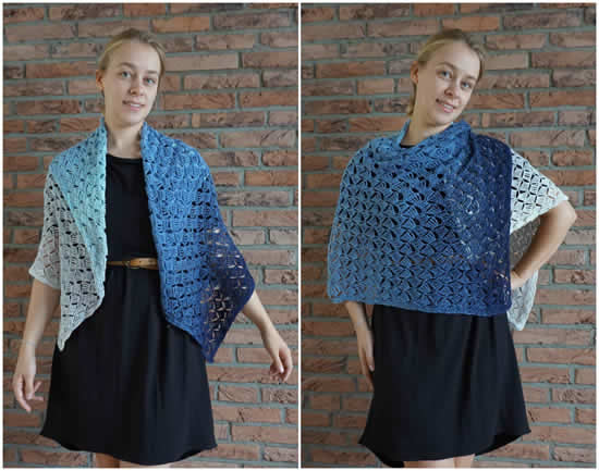 Scheepjes Whirl pattern, Breeze Blocks Shawl (New Leaf Design) | Happy in Red