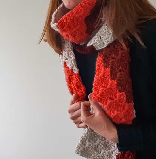 C2C Scarf, free crochet pattern | C2C Herringbone Scarf, design by Happy in Red