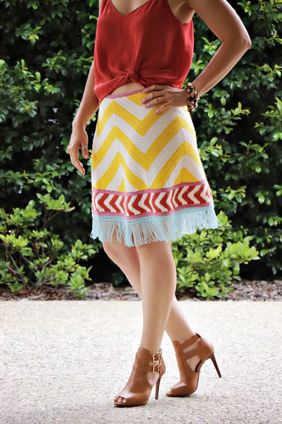 The skirt of Chevron Rainbows by Peppergoose designs | Happy in Red