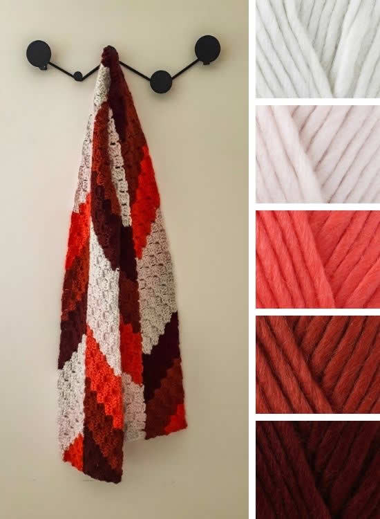 C2C herringbone scarf | Happy in Red
