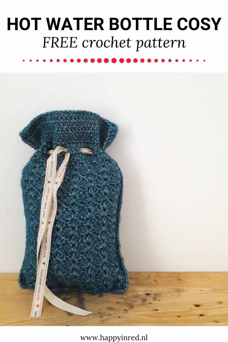 Crochet hot water bottle cosy | Crochet pattern hot water bottle cosy | Happy in Red