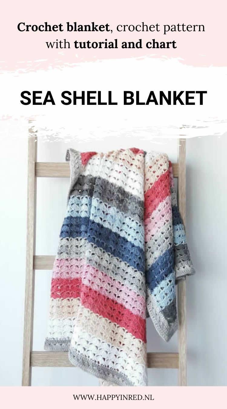 Sea shell blanket, crochet pattern | Crochet pattern by Happy in Red