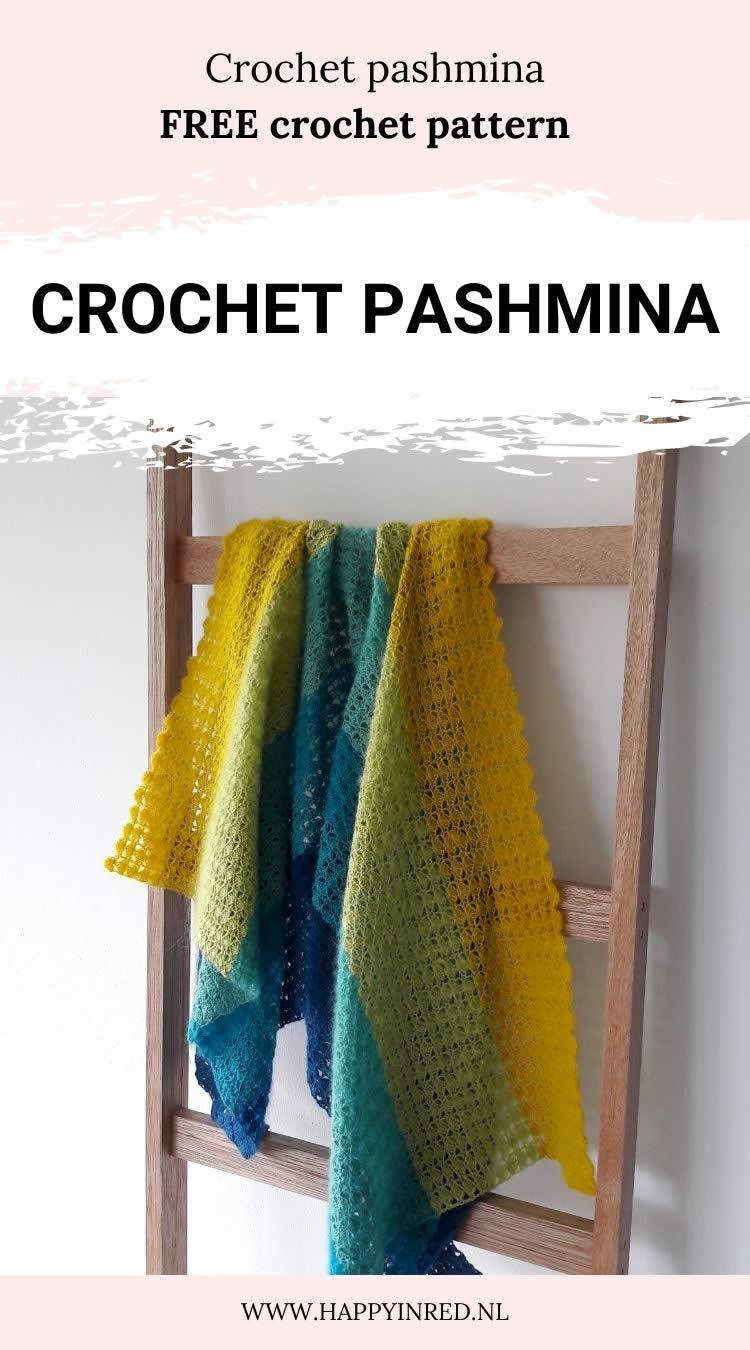 Crochet pashmina, soft shell pashmina | Crochet pashmina pattern by Happy in Red
