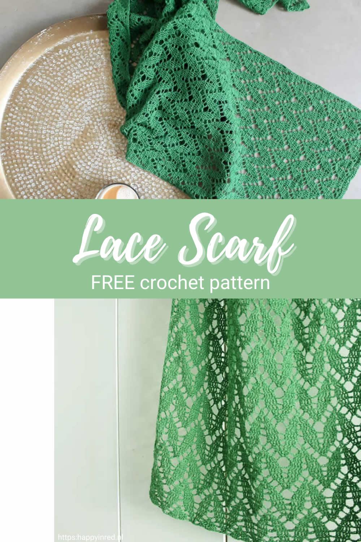 Crochet lace scarf, free pattern | Lace crochet scarf, free pattern | Happy in Red