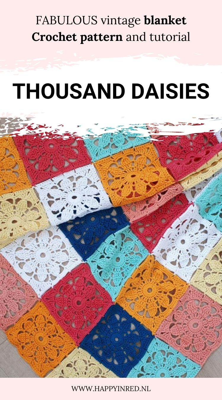 Thousand daisies blanket, crochet blanket. Crochet blanket pattern   Happy in Red